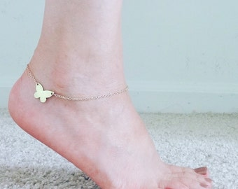Butterfly anklet, Butterfly charm anklet, Gold anklet, Chain ankle bracelet, Foot jewelry, Foot bracelet, Butterfly jewelry, Butterfly gift