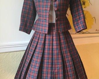 Exquisite 1950s Plaid Suit - Designer Vintage 50s Full Skirt Two-Piece