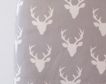 Woodland Crib Sheet in Gray Deer Buck - Buck Forest Mist Ready to Ship