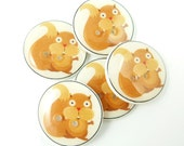 "5  Handmade Squirrel Buttons.  3/4"" or 20 mm Sewing Buttons.  Forest animal buttons for sewing, knitting, crochet and more."