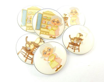 "6 Mother Hubbard Buttons. Sewing Buttons.  Clothing Buttons. Novelty Buttons.  Nursery Rhyme Buttons. Children's Buttons.  3/4"" or 20 mm."