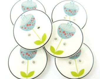"""6 Blue Flower Buttons. Flower Sewing Buttons.  Clothing Buttons.  3/4"""" or 20 mm. Decorative Buttons.  Craft Buttons. 3/4"""" or 20 mm Round."""