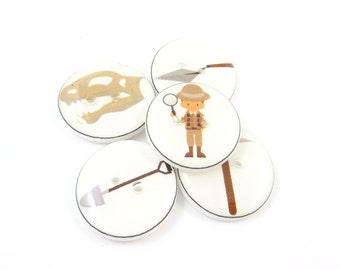 """5 Archaeologist Themed Buttons.  3/4"""" or 20 mm.  Archaeologist, Dinosaur, pick, shovel and trowel. Sewing Buttons."""