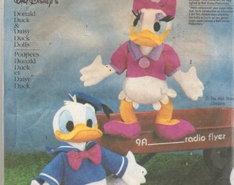 Simplicity 7636 1980s  Walt Disneys Donald Duck and Daisy Duck  Pattern Vintage Stuffed Animal Toy Sewing Pattern