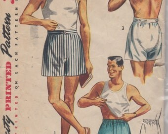 Simplicity 4149 1950s  Fly Front Mens BOXER SHORTS Pattern Adjustable Waist Adult Vintage Sewing Pattern Waist 32