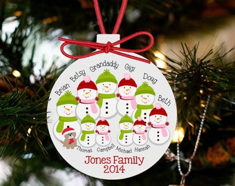 Personalized family Christmas ornament - snowman large family personalized holiday ornament SFCO