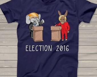 Presidential election 2016 debate DARK Tshirt - funny Trump Clinton caricature democratic republican party election shirt ETSDHV