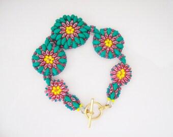 Beaded super duo bracelet , Bead woven bracelet , Beadwork bracelet , Beaded cuff bracelet , Peyote bracelet , Seed bead bracelet ,
