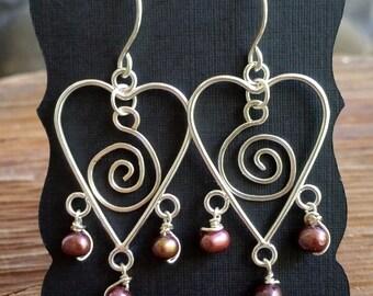 Freshwater Pearl Heart Earrings