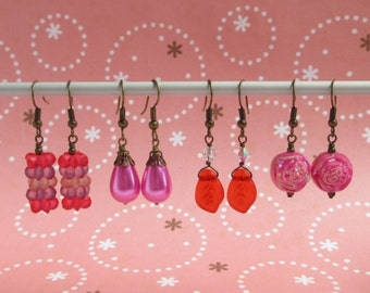 Clearance Sale - Red Earrings - Blossom Flower, Fuchsia Pearl, Frosted Leaf, Swarovski Crystal, Pink Rose