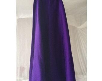 silk skirt Sisley floor length deep purple gala size L wild silk