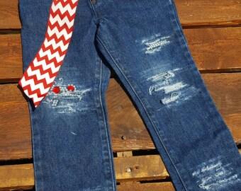 Distressed Kids Jeans Denim Baby Jeans Pearl Rhinestone Red Cheveron