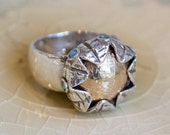 Blue Opals ring, boho ring, botanical ring, Silver Leaves ring, engagement ring, gold ring, Mixed metals ring, gold ring - On my mind R1693G