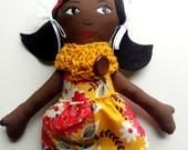Cloth Doll African American Rag Doll -Ready To Ship Fabric Doll  Soft Doll Christmas Doll Gifts Under 50 Ethnic Doll Black Doll