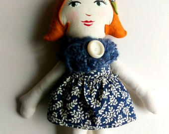 Cloth Doll Red Hair, Blue Cowl Rag Doll Soft Doll Christmas Doll Gifts under 50 fabric doll heirloom doll ready to ship doll gifts for girls