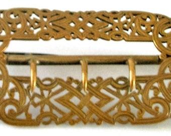 Vintage - RECTANGULAR  COPPER BUCKLE - Scroll Openwork Design - Art Nouveau - 3 haps, back plain - natural age patina - cut out pattern