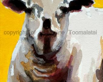 Yellow lamb original watercolor painting Sheep painting Lamb painting sheep watercolor sheep art sheep picture