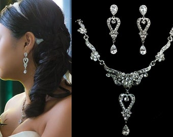 Crystal Bridal Jewelry Set, Statement Bridal Necklace, Cz Drop Bridal Earrings, Swarovski Wedding Jewelry, Silver Bridal Necklace, ROMANTICA