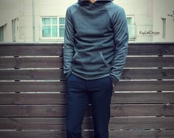 Men's Hoodie / Gray hood tshirt /hooded tshirt - KMT 067