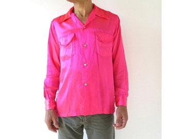 1950s Men's Shirt | Acid Pink | Satin Shirt | 50s Shirt | Medium M
