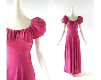 Vintage 30s Dress | Cerise Pink Gown | 1930s Gown | XXS