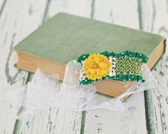 baby toddler child headband // photo prop // baby girl photography // ruffle tieback // flower headband // green // St. Patricks Day // RTS