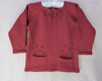 Toddler Girl Crew Neck Knit Cotton Pullover/Sweater/Blouse/ T-Shirt - 3T/4T Ready to ship