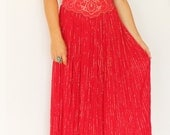 Vintage Red Gauze Maxi Dress with Gold thread and embroidery
