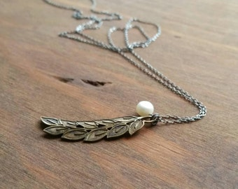 Vintage Brass Leaf Vine & White Pearl Necklace, Oxidized Sterling Silver Long Skinny Chain Layering Necklace, Pendant