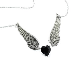 Angel Wing Necklace, Silver Plated Necklace, Winged Heart Necklace, Black Necklace, Swarovski Crystal Heart, Angel Wing Jewelry