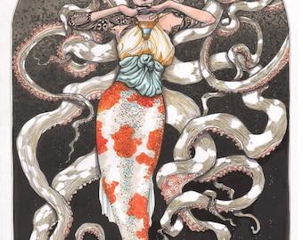 "Art Nouveau Mermaid Print-13""x19"""
