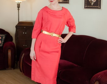 Vintage 1950s Dress - Saucy Hot Coral Late 50s Dress with Slubbed Texture and Wide Collar