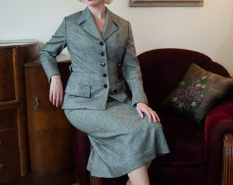 Vintage 1940s Suit - Sharp Salt and Pepper Soft Wool Striped Late 40s Suit with Belted Back, Sleek Tailoring and Pockets