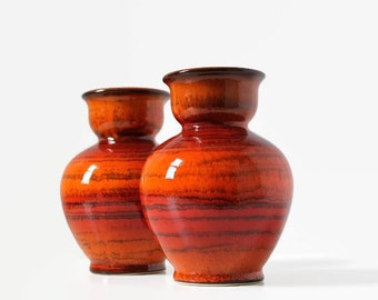 West German Pottery Vases, Jasba Keramik Vase, West German Art Pottery, 1970's Pottery, Fire Orange Glaze, N 902 10 15, Mid-Century Pottery