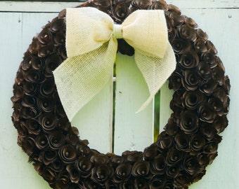 Chocolate brown wood curl wreath, brown wreath, wood wreath, rustic wreath, chocolate brown wreath