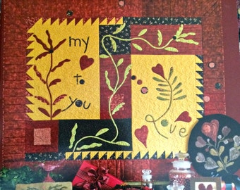 Here's My Heart by Need'l Love, Quilt, Wool Applique, Hooked Rug, SALE