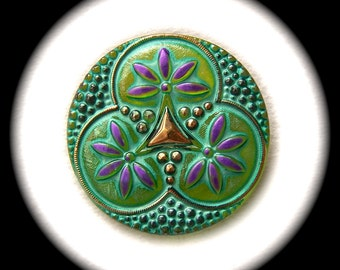 BiG PAiR Czech Glass Buttons 32mm - 2 1 1/4 inch Glass Buttons - Three Encircled Purple Flowers on Lush Spring Green with Gold Luster GL44