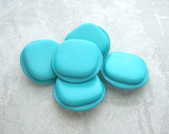 HuGE Turquoise Buttons 35mm - 1 3/8 inch Scuba Blue Retro Mod Vintage Plastic Shanks - 5 Raised Rounded Square Matte Retro Buttons PL093