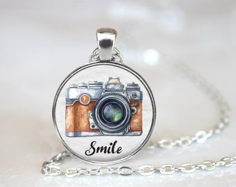 "Smile Photographer Camera Changeable Magnetic Pendant Necklace with 1"" Button Magnet"