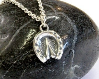Tiny Horse Hoof Charm Necklace in Solid Sterling Silver 526