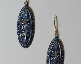 Blue enameled inlay earrings on 14k gold filled ear wires
