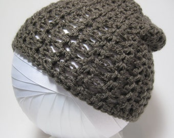 Brown Hat, Taupe Hat, Gift for Her, Brown Beanie, Taupe Beanie,   Brown Crochet Beanie, Winter Hat, Fall Hat, Brown Crochet Hat