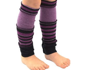 Leg Warmers for Kids in Galaxy Stripes - Purple Black Mauve - Recycled Sweaters - Eco Friendly