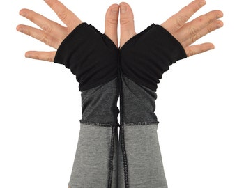 Arm Warmers in Black Charcoal Grey Ombre - Segmented Sleeves - Fingerless Gloves