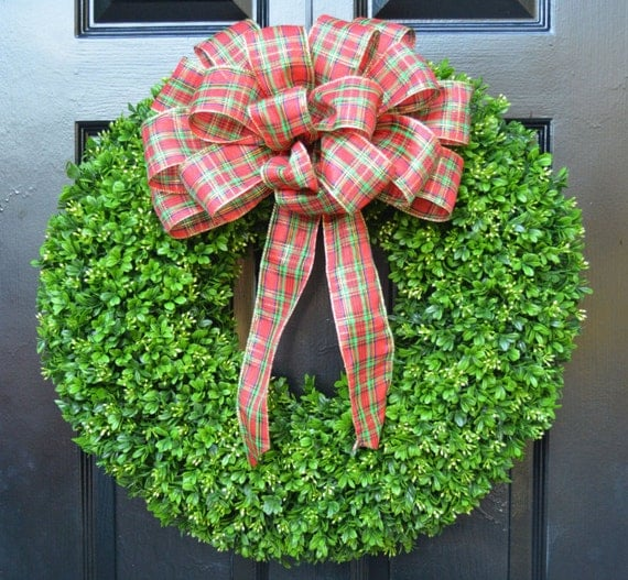 Christmas Wreath- Holiday Wreath Boxwood Wreath with Christmas Bow- Christmas Door Wreath- Traditional Christmas Front Door Decoration