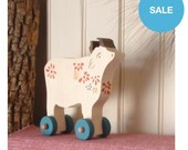 dreamy cow push toy -wooden folk art toy