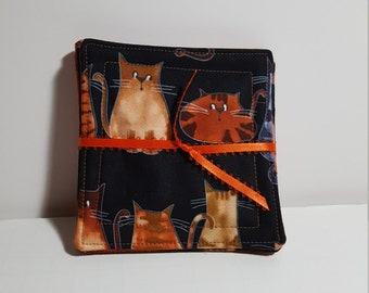 Fabric Drink Coaster Set - Cat print, choice of Reverse fabric - all cotton, large size