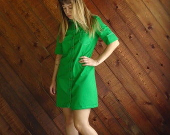 Bright Lime Green Mod Mini Dress - Vintage 60s - SMALL