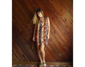 90s FLORAL Striped Sleeveless Mini Shift Dress - M/L Petite