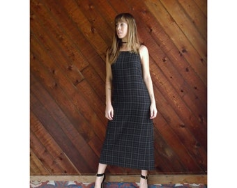 Windowpane Plaid Sleeveless Maxi Dress - Vintage 90s - XS/S